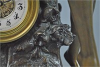 LARGE BRONZE FIGURAL CLOCK AFTER MOREAU
