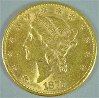 1877-S $20 DOUBLE EAGLE US GOLD COIN