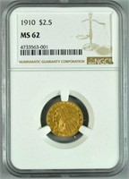 1910 INDIAN HEAD $2.50 GOLD COIN NGC MS62