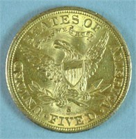 1903-S $5 HALF EAGLE US GOLD COIN
