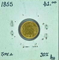 1855 TYPE 2 US INDIAN HEAD PRINCESS $1 GOLD COIN