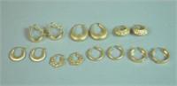 (7) PAIRS 14K HOLLOW GOLD HOOP EARRINGS