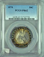 1870 PCGS PR62 US SEATED LIBERTY HALF DOLLAR COIN
