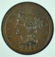 1852 US COPPER BRAIDED HAIR CENT NGC MS 64 BN CAC