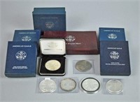(13) US $1 AMERICAN EAGLE SILVER COINS