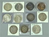 (11) US MORGAN SILVER DOLLAR COINS INCL. 1891-CC