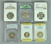 (17) GRADED US SILVER COINS