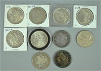 (10) US MORGAN SILVER DOLLAR COINS