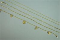(5) 14K GOLD ANKLETS