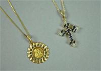 (2) GOLD PENDANT NECKLACES