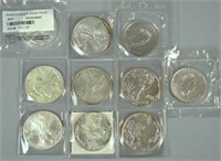 (10) $1 AMERICAN EAGLE & $5 CANADIAN MAPLE LEAF