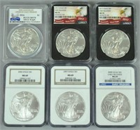 (6) MS69 & MS70 GRADED US SILVER EAGLE COINS