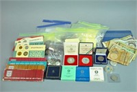 MIXED GROUP OF INTERNATIONAL COINS, BILLS & SETS