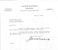 BREWER & NY YANKEES OWNER JACOB RUPPERT SIGNATURE