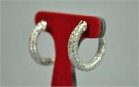 PAIR 18K DIAMOND ENCRUSTED HOOP EARRINGS, 3.00CTW