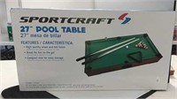 27 Inch Sportscraft Pool Table