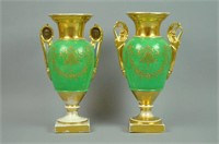 COMPLEMENTING PAIR OLD PARIS PORCELAIN URNS