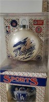 Lot of 2 LA Dodgers Christmas Ornaments