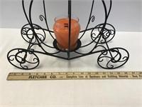 Metal Pumpkin Carriage w/Candle