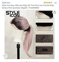 Pink & Black long cosplay wig New