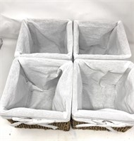 4 pc cube baskets with linen  Seagrass new