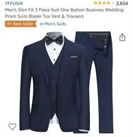 New Yffushi Men's 3 Piece Slim Fit Suit Size XXL