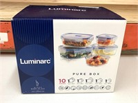 Luminarc 10 piece pure box glass container set-