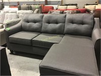 Gray Couch w/Chaise Lounge & Tufted Back Cushions