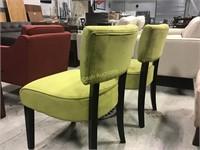 2 Green Chairs w/Wood Legs