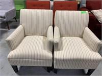 2 Chairs, Cream w/Gray & Tan Stripes