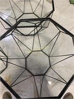 3 Tables, Glass Top Black Aluminum Base