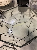 Table, Glass w/Black Aluminum Base