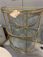 Table, Gold w/Glass Top & 2 Shelves