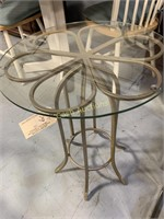 Table, Gold Color w/Glass Flower Top