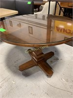 Round Wood Table w/Glass Top on Wheels