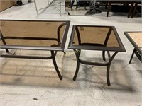 3 Patio Tables, Brown w/Glass Tops