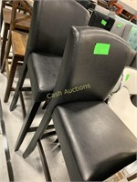 2 Bar Stool Seating, Black Faux Leather