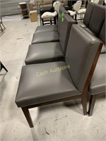 4 Faux Gray Chairs with Faux Wood Legs