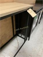 Side Table, Faux Wood Top w/Black Metal Base