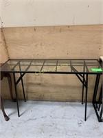 Side Table, Glass w/Metal Frame