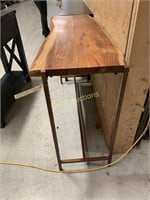 Faux Wood Side Table w/Bronz Legs