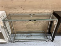 Side Table, Silver w/Glass Top & Glass