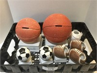 Tray of Sports Piggy Banks Various Sizes