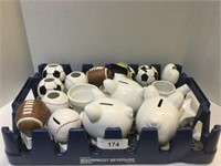 Tray of Small Piggy Banks Various Sizes & Styles