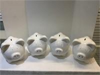 4 Large Piggy Banks