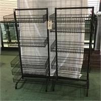 2 Black Wire Basket Racks