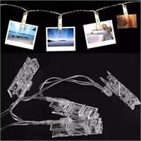 White LED Photo Clips String Lights, 15 Feet