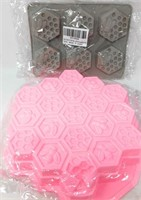Set of Beeswax Honeycomb Silicone Molds,
