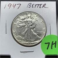 1947 WALKING LIBERTY SILVER HALF DOLLAR BETTER
