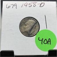 1958-D ROOSEVELT DIME COIN